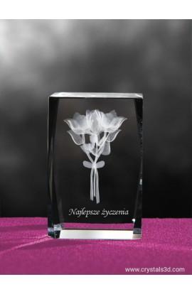 Kryształowa kostka 40*40*60 - bukiet kwiatów 3D