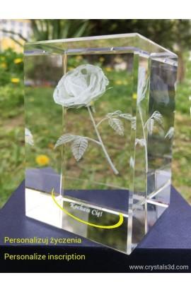 Kryształowa kostka 50*50*80 - róża 3D